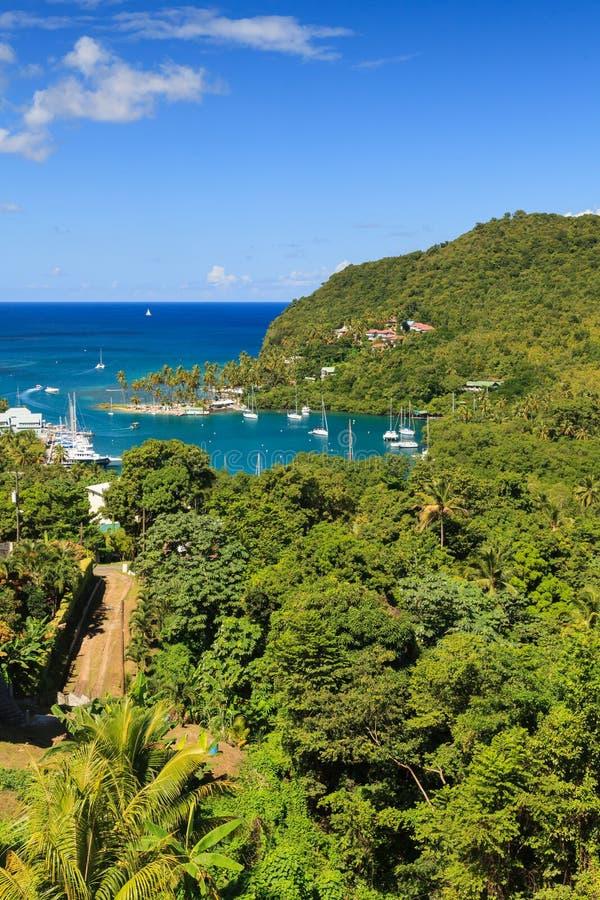 Marigot zatoka, St Lucia fotografia royalty free