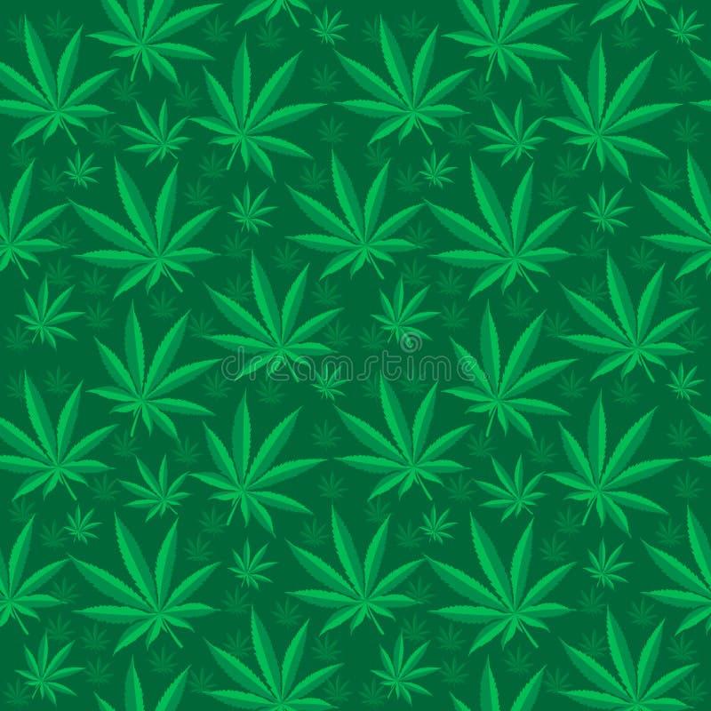 Marihuana bezszwowy wzór Marihuana jest niekończący się teksturą Medyczny konopiany wielostrzałowy tło również zwrócić corel ilus royalty ilustracja