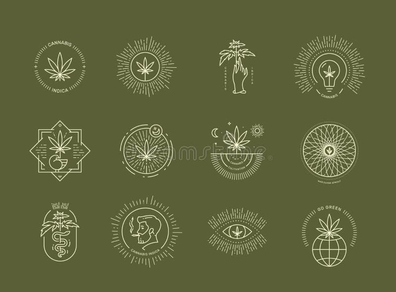 Marihuana emblemat ustawiający na zielonym tle obraz royalty free
