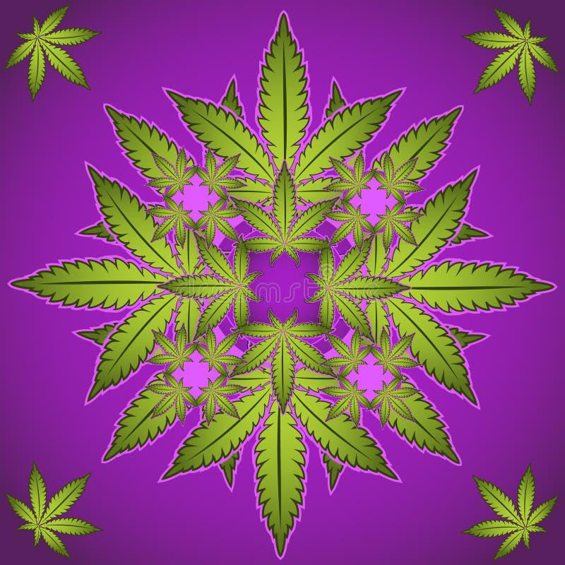 Marihuana en cannabisinstallatiesymbool  stock illustratie