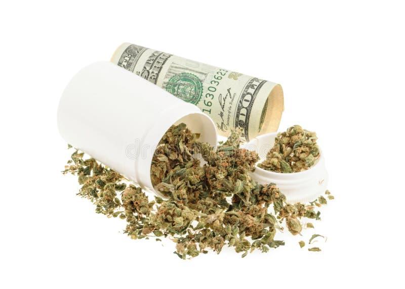 Marihuana en geld op wit wordt geïsoleerd dat royalty-vrije stock afbeeldingen