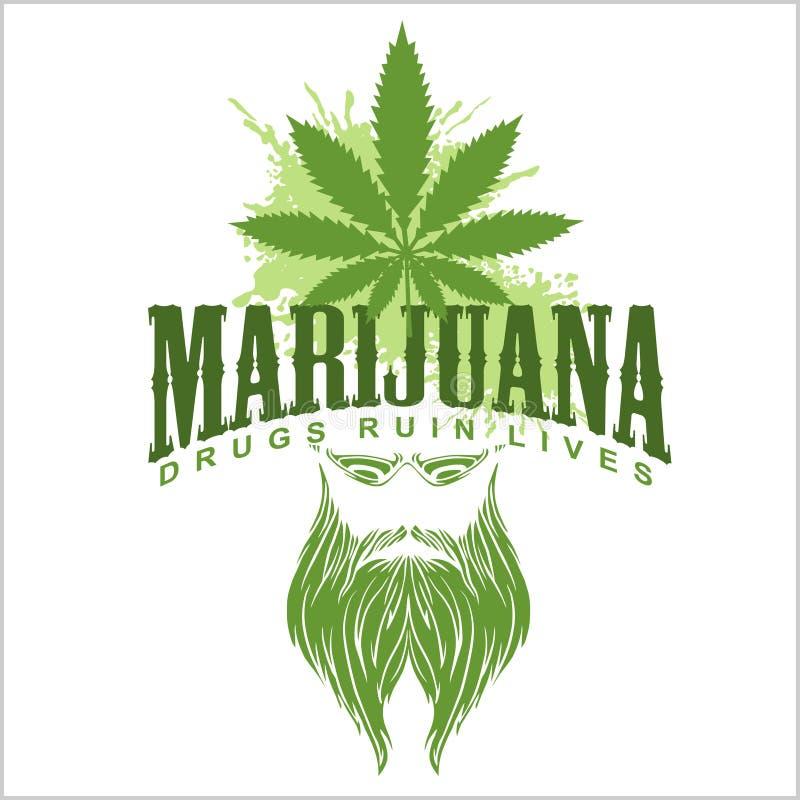 Marihuana en hippie - vectorembleem royalty-vrije illustratie