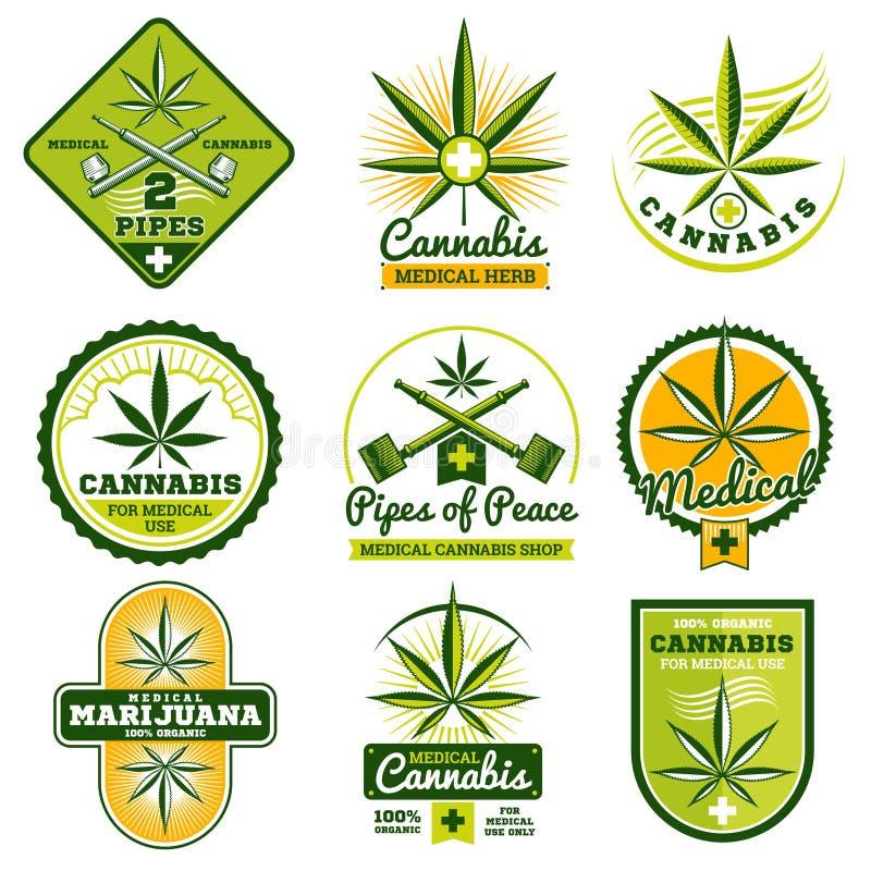 Marihuana, hasjiesj, geplaatste de vectoremblemen van de druggeneeskunde en etiketten vector illustratie