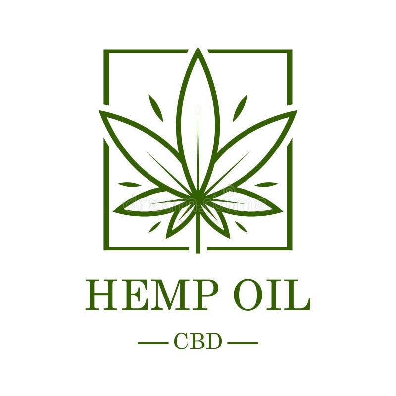 Marihuana Leaf Medizinischer Hanf Hanföl Hanfauszug Ikonenproduktaufkleber und Logographikschablone Getrennt lizenzfreie abbildung