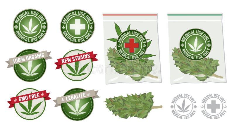 Marihuana leka produktu wektorowa etykietka ilustracja wektor