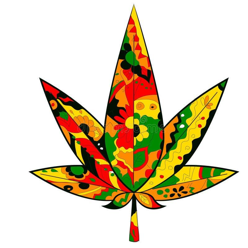 Marihuana liść w Rastafarian kolorach ilustracji