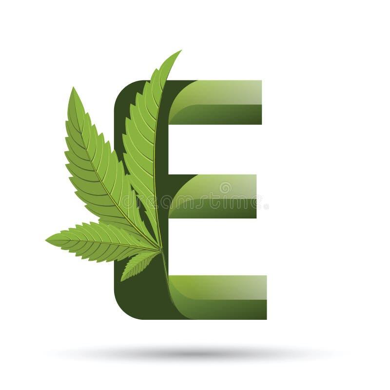 Marihuana liścia loga zielony list E ilustracja wektor