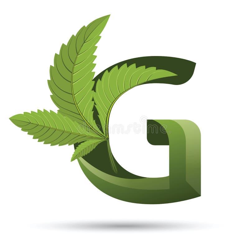 Marihuana liścia loga zielony list G ilustracja wektor