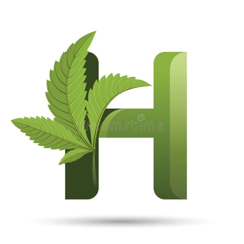 Marihuana liścia loga zielony list H ilustracji
