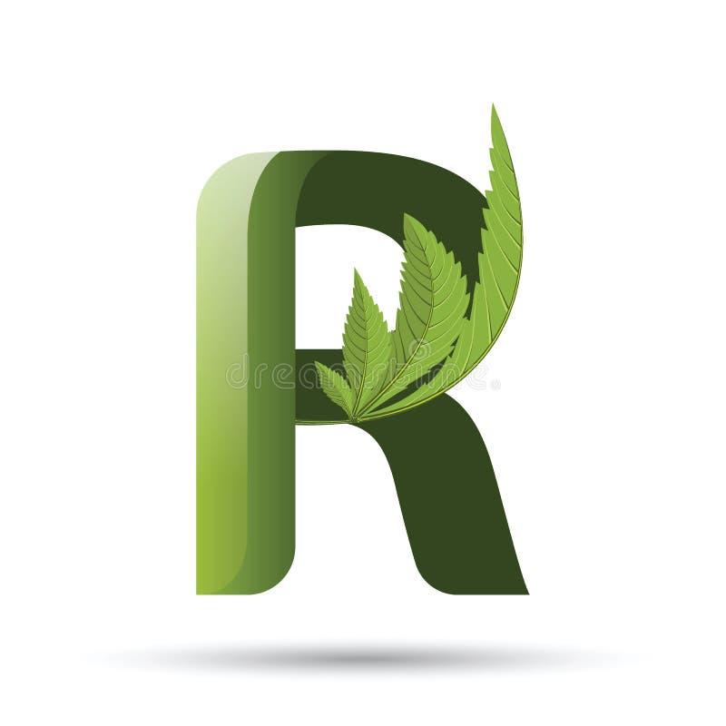 Marihuana liścia loga zielony list R ilustracja wektor