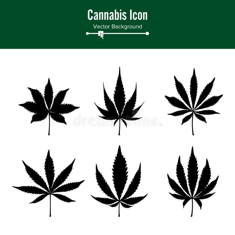 Marihuana liścia wektor Zielona Konopiana marihuana Sativa lub marihuany marihuany Indica liść Odizolowywający Na Białym tle royalty ilustracja