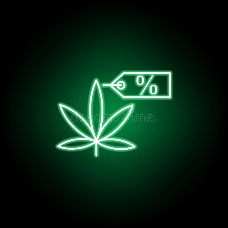 Marihuana majcheru konturu ikona w neonowym stylu Mo?e u?ywa? dla sieci, logo, mobilny app, UI, UX royalty ilustracja