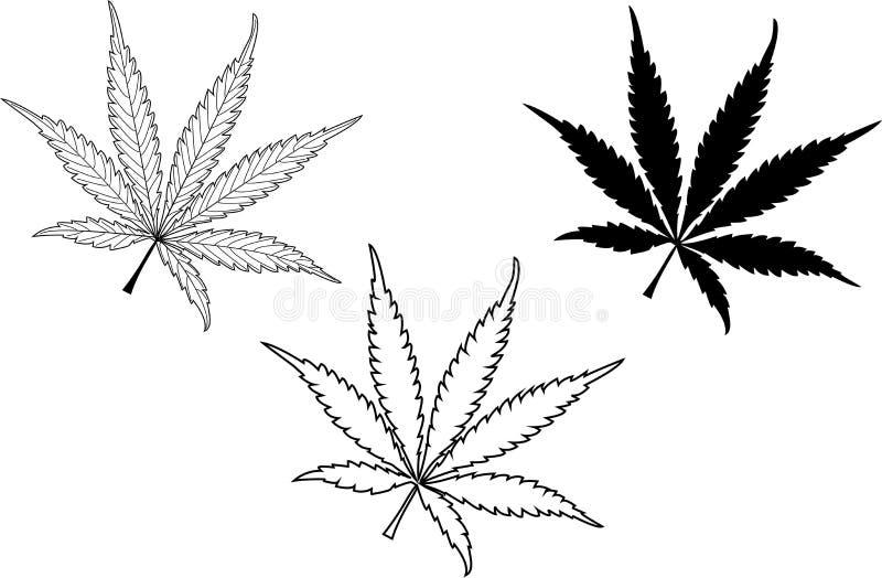 Marihuana, marihuana liścia set, royalty ilustracja