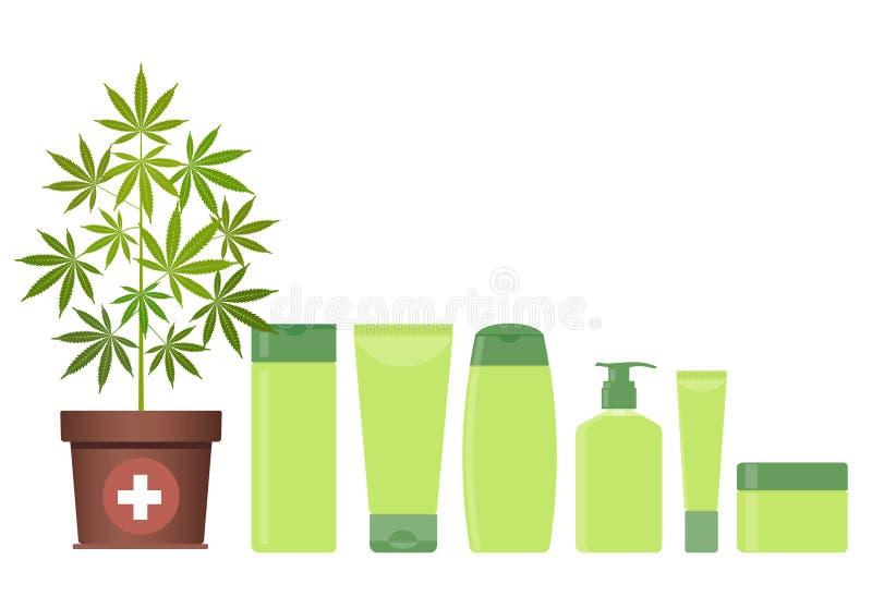 Marihuana- oder Hanfanlage im Topf mit Hanfkosmetikprodukten Creme, Shampoo, Flüssigseife, Gel, Lotion, Balsam lizenzfreie abbildung