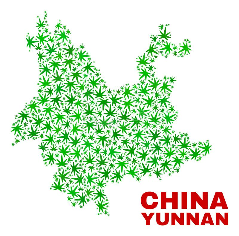Marihuana Opuszcza mozaiki Yunnan prowincji mapę ilustracji