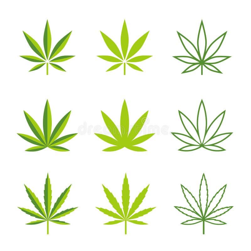 Marihuana opuszcza wektorowe ikony