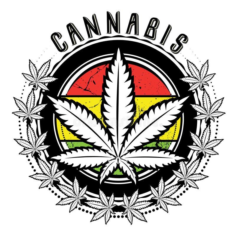 Marihuana- und Unkrautblattlogodesign  lizenzfreie abbildung
