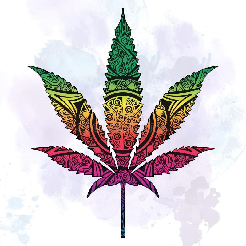 Marihuana w abstrakcjonistyczny ozdobnym ilustracja wektor