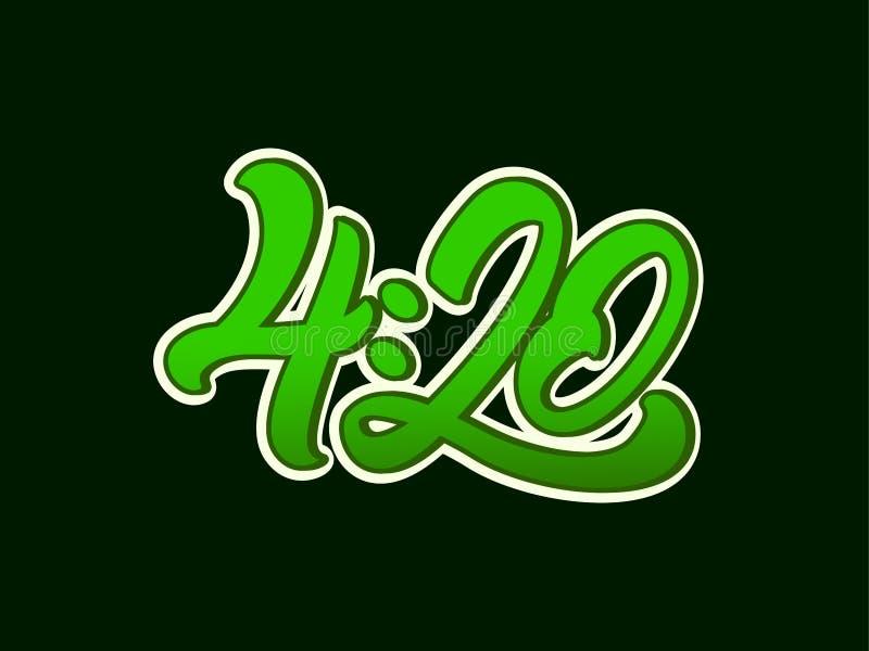 4:20 marihuana w literowanie stylu z liściem marihuana Wektorowy ilustracyjny projekt ilustracja wektor