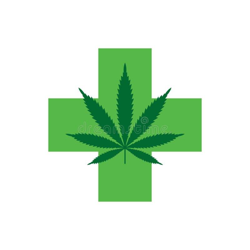 Marihuanablatt mit grünem Kreuz Medizinischer Hanf Ikone Logo Template lizenzfreie abbildung