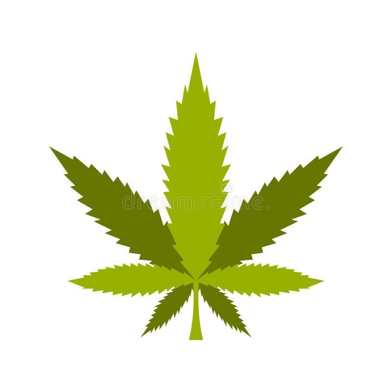 Marihuanablattikone, flache Art lizenzfreie abbildung