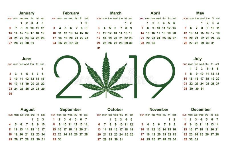 Marihuanakalender voor 2019 vector illustratie