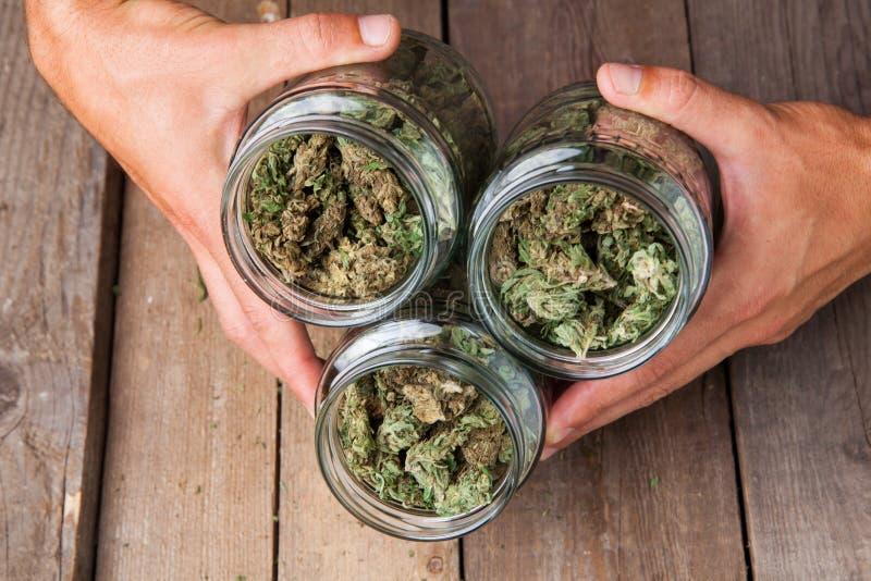 Marihuanaknoppen in glaskruiken stock foto's