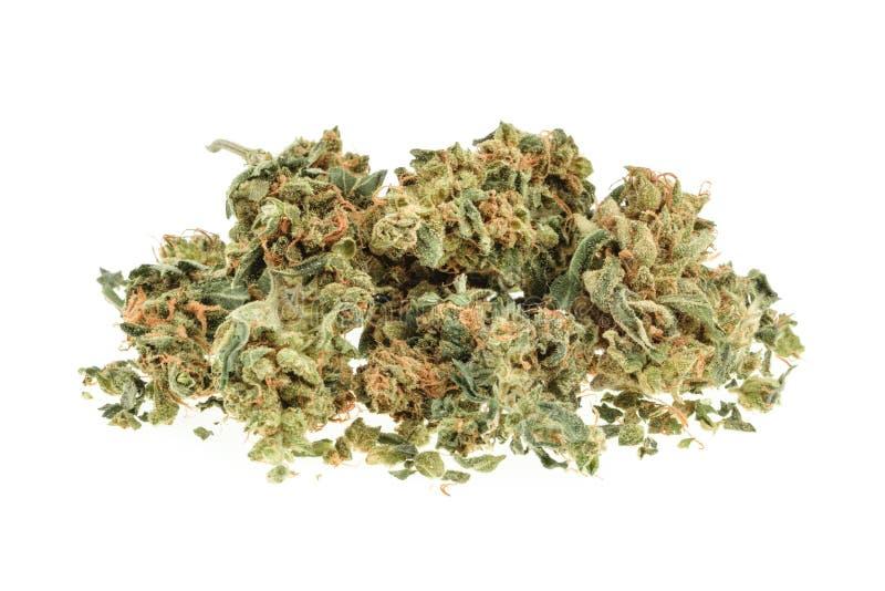 Marihuanaknoppen op witte achtergrond worden geïsoleerd die royalty-vrije stock foto