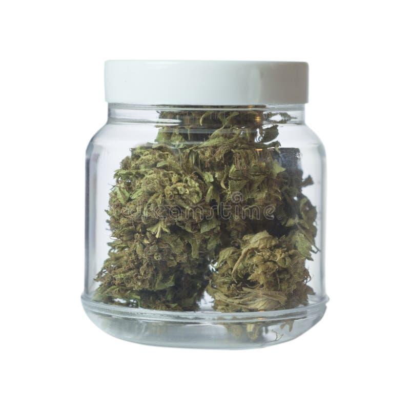 Marihuany buteleczka odizolowywająca na bielu zdjęcia stock