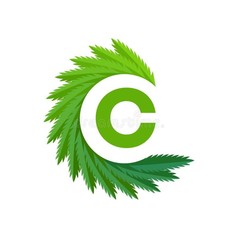 Marihuany c listowy logo również zwrócić corel ilustracji wektora ilustracja wektor