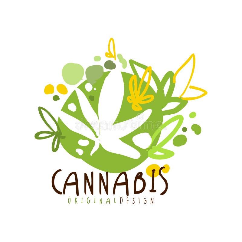 Marihuany etykietki oryginalny projekt, loga szablonu graficzna ręka rysująca wektorowa ilustracja ilustracji