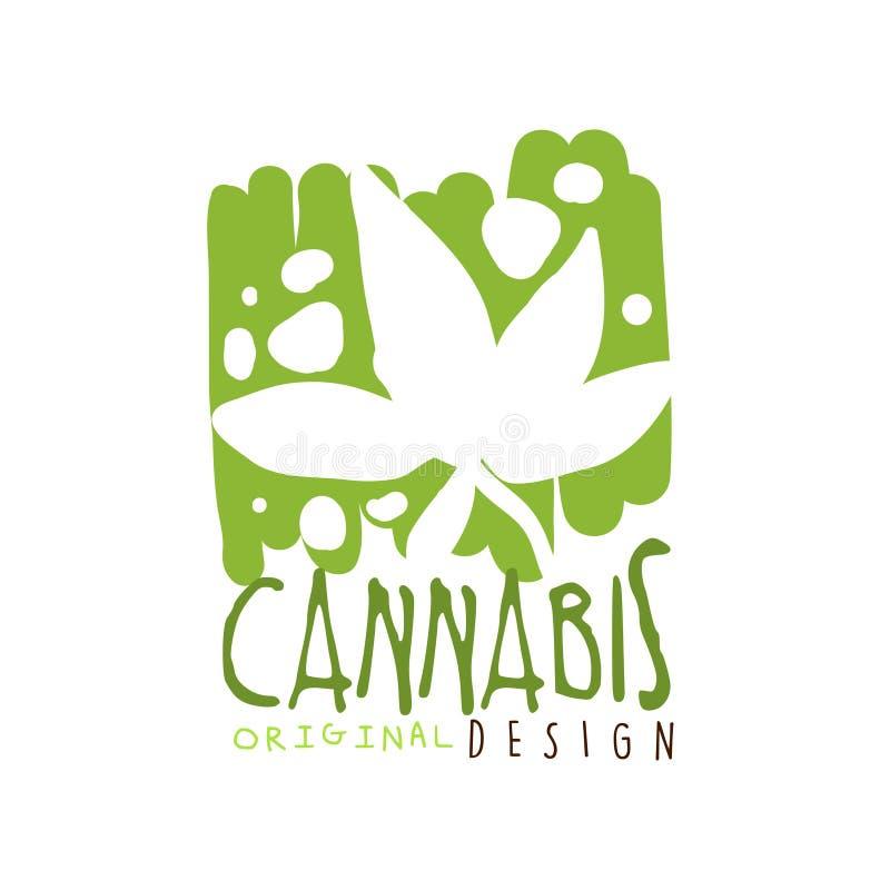 Marihuany etykietki oryginalny projekt, loga szablonu graficzna ręka rysująca wektorowa ilustracja ilustracja wektor