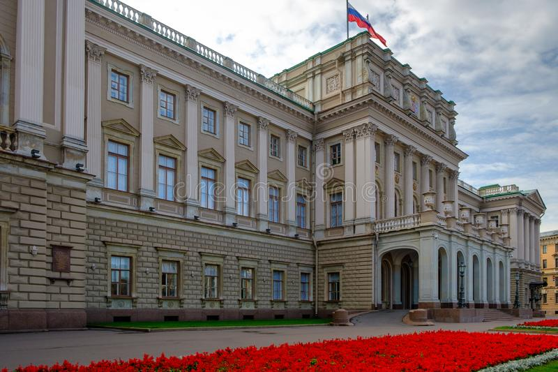 Mariinsky Palace, also known as Marie Palace, was the last neoclassical Imperial residence to be constructed in Saint Petersburg royalty free stock photography