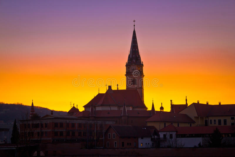 Marija Bistrica marianic shrine church evening view stock photos