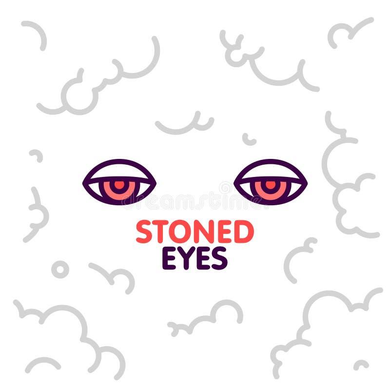 A marijuana apedrejou os olhos na ilustração do vetor do fundo das nuvens de fumo ilustração do vetor