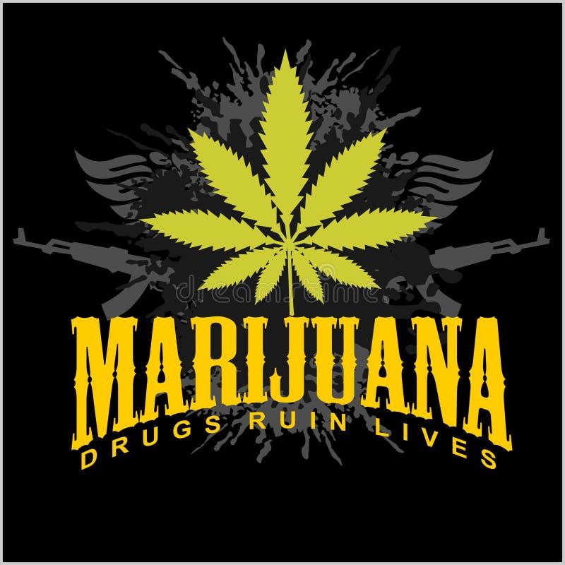 Marijuana - cannabis. Drugs Ruin Lives vector illustration