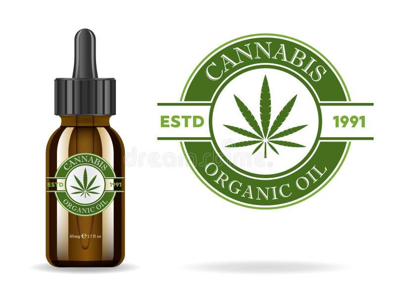 Marijuana cannabis, hampaolja Realistisk brun glasflaska med cannabisextrakten Symbolsproduktetikett och logodiagram vektor illustrationer