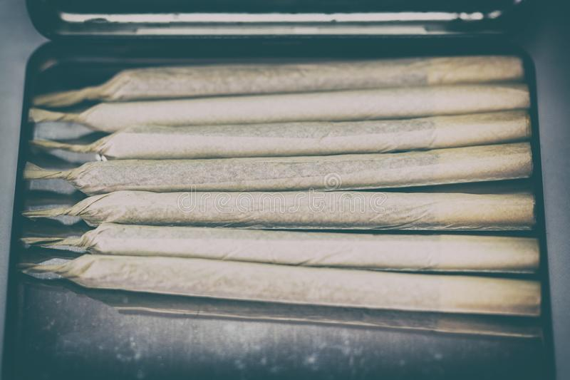 Marijuana cannabis joint i cigarettfallet royaltyfria foton