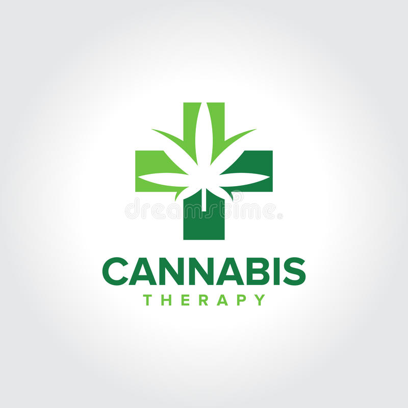 Marijuana Cannabis Medical Therapy Logo Stock Vector Illustration
