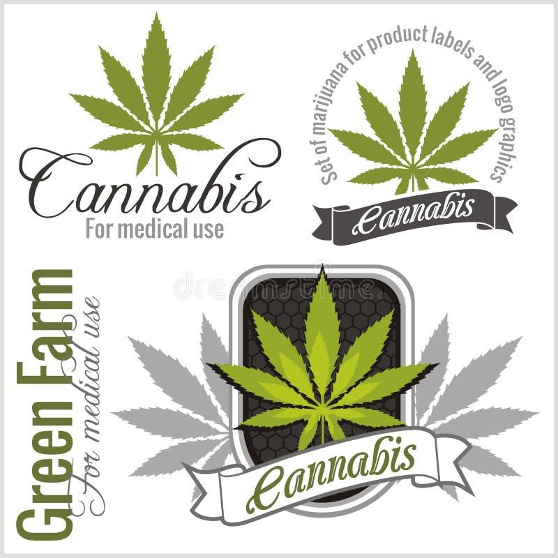 Marijuana - cannabis. For medical use. Vector set. stock images
