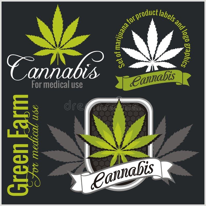 Marijuana - cannabis. For medical use. Vector set. royalty free stock photography