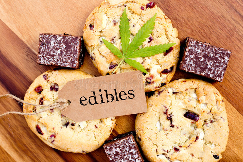 Marijuana - Cannabis - Medicinal Edibles - Cookies and Coconut Brownies royalty free stock photography