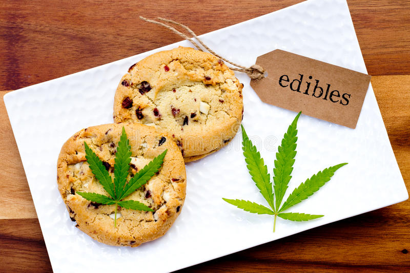 Marijuana - Cannabis - Medicinal Edibles - Cookies. With tag and leaf stock photography