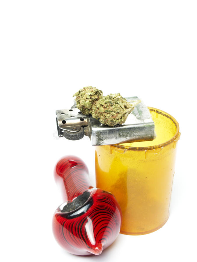 Marijuana. And Cannabis on White Background stock image