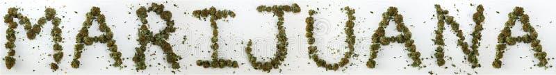Marijuana deletreada con marijuana fotografía de archivo libre de regalías