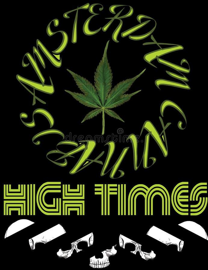 Marijuana dell'icona dell'emblema di vettore Logo IL della canapa di tipografia di ore illustrazione vettoriale
