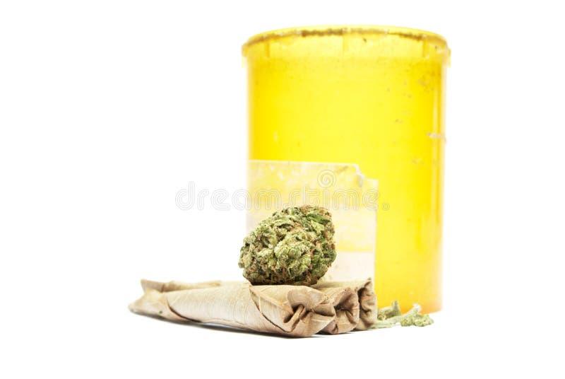 Marijuana. Drugs and Money, Marijuana and Cash on White Background royalty free stock photos