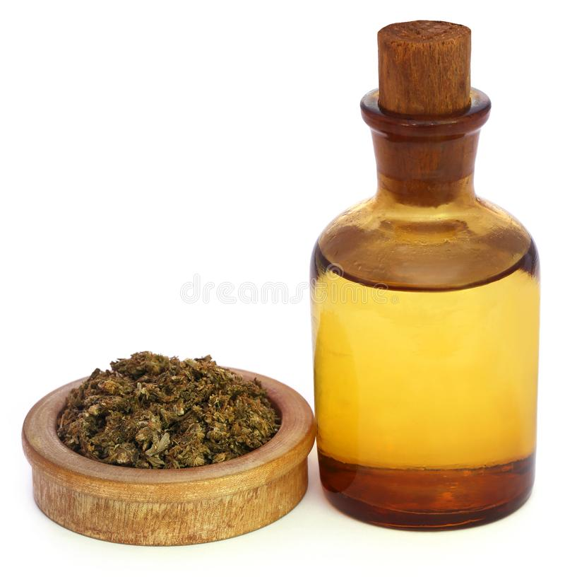 Marijuana with extract oil in a bottle royalty free stock photography