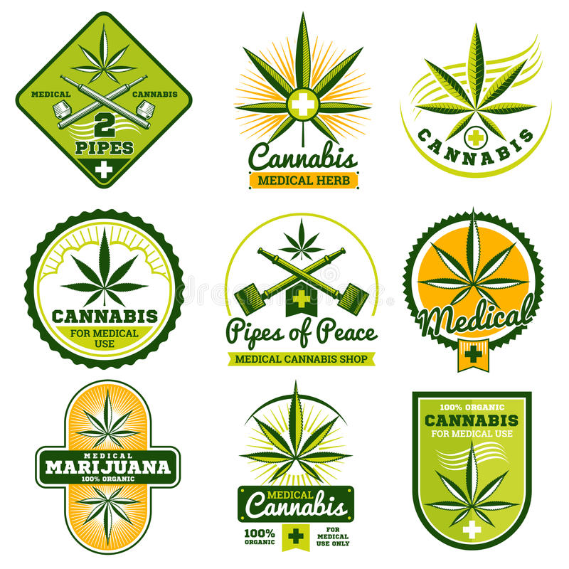 Marijuana, hachís, logotipos del vector de la medicina de la droga y sistema de etiquetas ilustración del vector