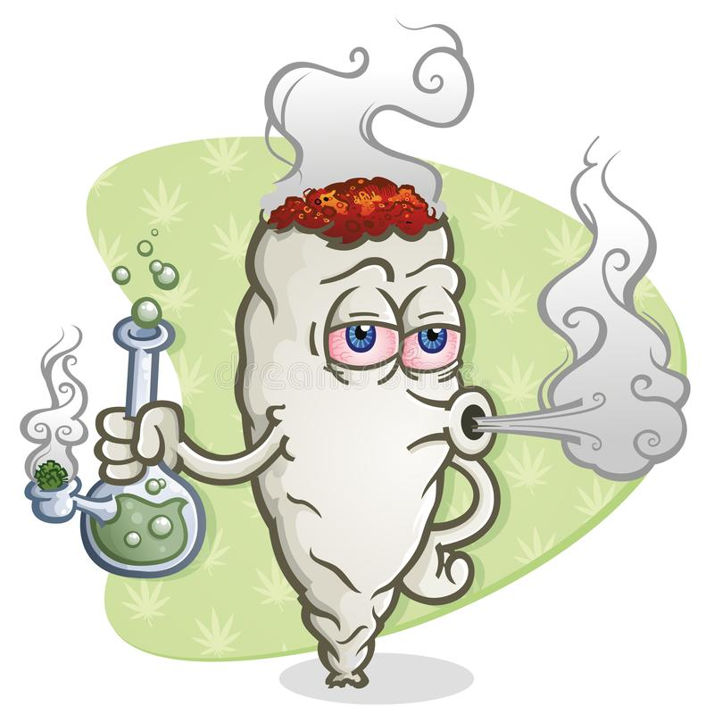 Free Marijuana Joint Cartoon Character Smoking A Bong Royalty Free Stock Photo - 113194555